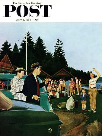 """First Day at Camp"" Saturday Evening Post Cover, July 3, 1954"