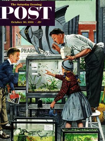 """""""Fish Aquarium"""" Saturday Evening Post Cover, October 30, 1954"""
