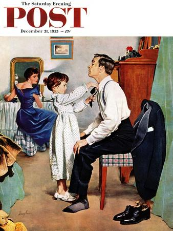 """""""Fixing Father's Tie"""" Saturday Evening Post Cover, December 31, 1955"""