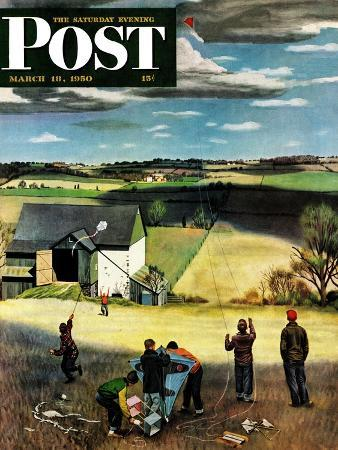 """""""Flying Kites"""" Saturday Evening Post Cover, March 18, 1950"""