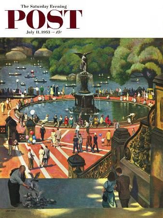 """Boating in Central Park"" Saturday Evening Post Cover, July 11, 1953"