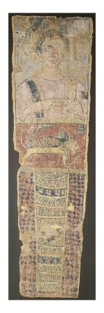 A Romano-Egyptian Painted Linen Mummy Portrait Depicting a Deceased Female in a Pink Dress