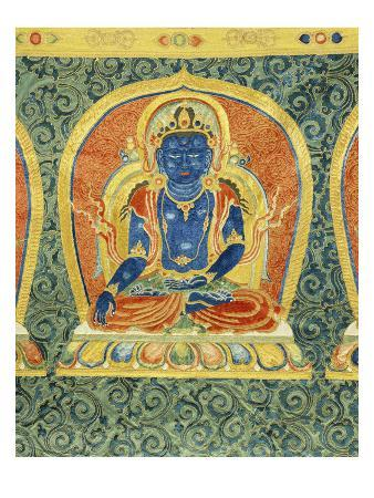 Detail of the Akshobhya Buddha, from a Rare and Imperial Embroidered Silk Thanka