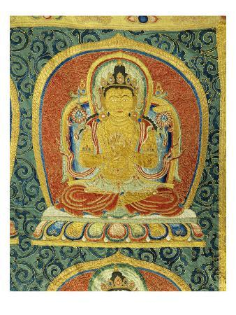 Detail of the Amogghasiddhi Buddha, from a Rare Large Imperial Embroidered Silk Thanka