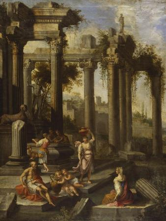 Capricci of Classical Ruins with Water Carriers, Philosophers and Noblemen (Left Panel)