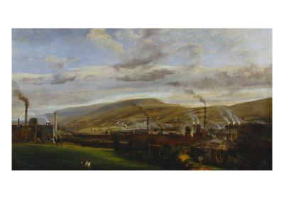 An Industrial Landscape Showing an Ironworks, with Figures and Animals in the Foreground