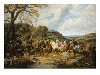 Queen Elizabeth and Her Entourage Riding to the Hunt