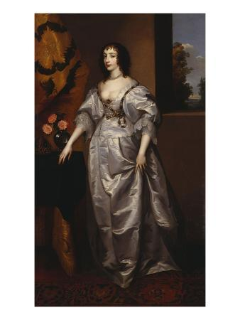 Portrait of Queen Henrietta-Maria, Full Length Wearing a Grey Satin Dress, by a Table, with a…