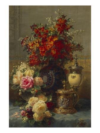 Roses, Anemones and Peonies, Strawberries, a Silver-Gilt Ostrich Egg Cup and a German Gold-Gilt…