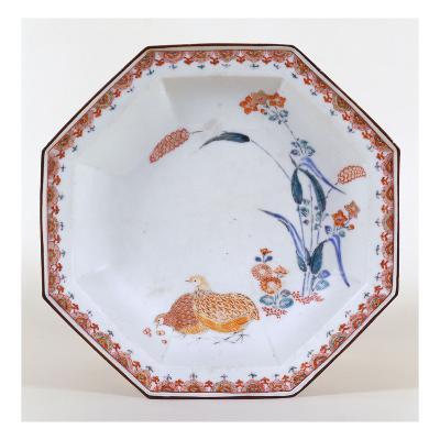 A Kakiemon Octagonal Dish Depicting Two Quail