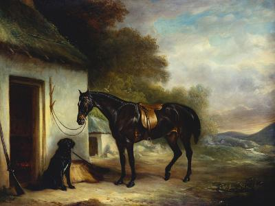 Mr Stuart's Favourite Hunter, Vagabond and His Flatcoated Retriever, Nell by a Cottage Door