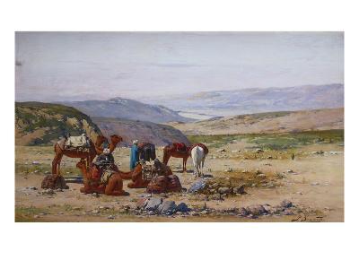 An Extensive Landscape with an Arab Caravan at Rest
