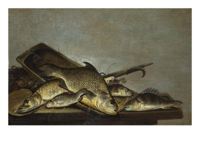 A Carp, Perch and a Pike in a Wooded Tray with Nets and a Gaff on a Table