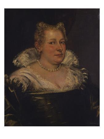 Portrait of a Lady, Bust Length in a Green Dress with a White Collar