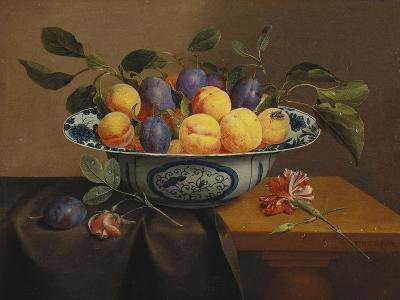 Plums and Apricots in a Wanli Kraak Porselein Bowl with a Carnation, a Rose