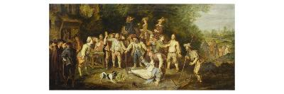 Peasants Brawling Outside a Tavern