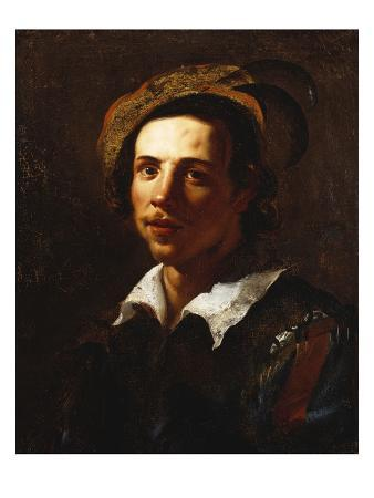 Portrait of a Youth, Bust Length, Wearing a Feathered Cap and a Tunic with Striped Sleeves