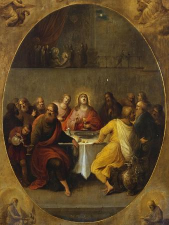 The Last Supper in a Painted Oval in a Surround Decorated with the Four Evangelists and God the…