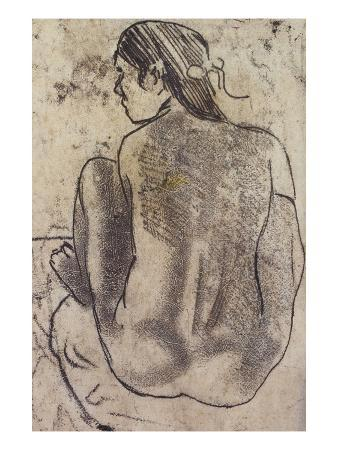 Seated Tahitian Nude from the Back; Tahitienne Nue De Dos Assise