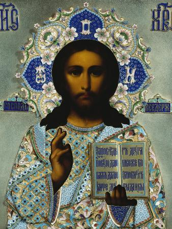 A Shaded Enamelled Silver-Gilt Icon of Christ Pantocrater, the Oklad Marked Moscow, 1899-1908