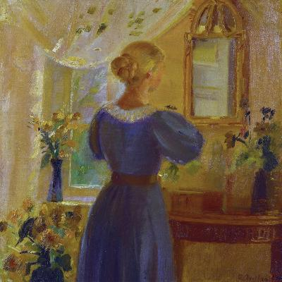 An Interior with a Woman Looking in a Mirror