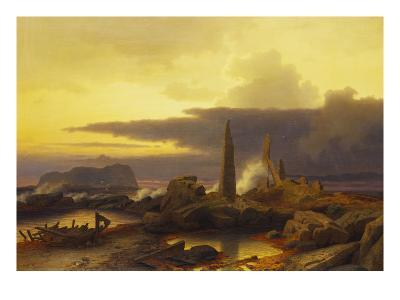 A Coastal Landscape at Sunset