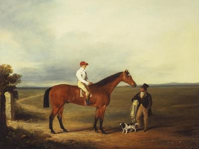 A Racehorse with a Jockey Up, with a Trainer and a Spaniel by a Gate