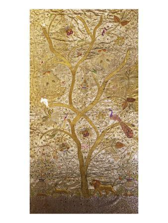 A Wall Hanging of Red Silk, Embroidered with a Tree of Life in Gilt Thread and Silks