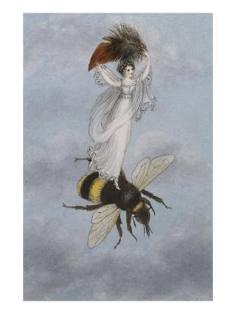 A Fairy Carrying a Feather Standing on a Bee