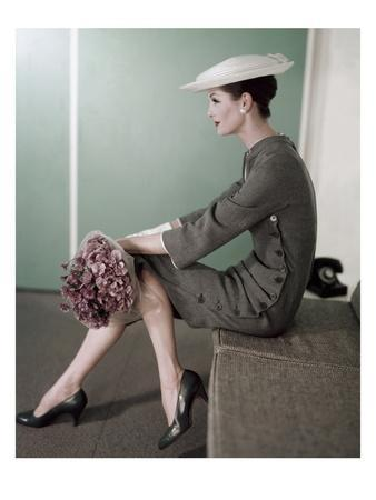 Vogue - February 1956 - Woman In Gray