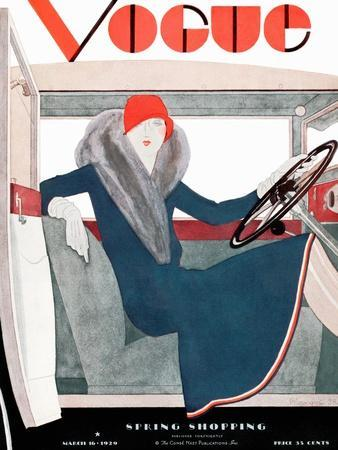 Vogue Cover - March 1929 - Riding in Style