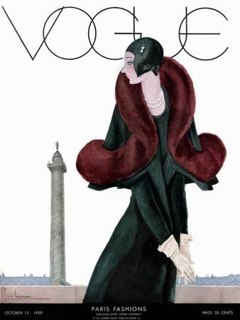 Vogue Cover - October 1929 - Fur Fashion