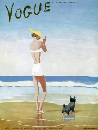 Vogue Cover - July 1937 - Beach Walk
