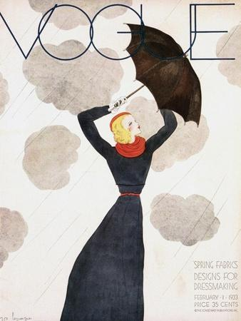 Vogue Cover - February 1933 - Umbrella Weather