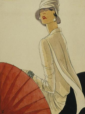 Vogue - January 1928 - Red Parasol