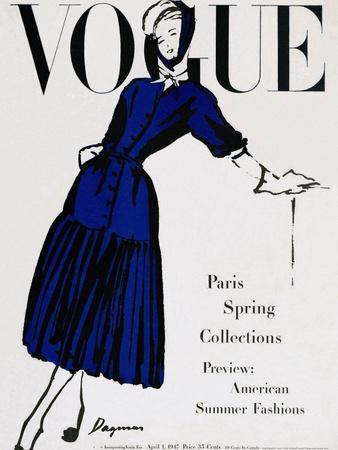 Vogue Cover - April 1947 - Black and Blue