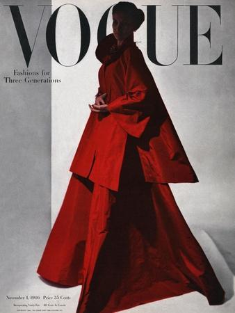 Vogue Cover - November 1946 - Red Gown