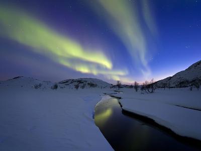 Aurora Borealis over Skittendalen Valley, Troms County, Norway