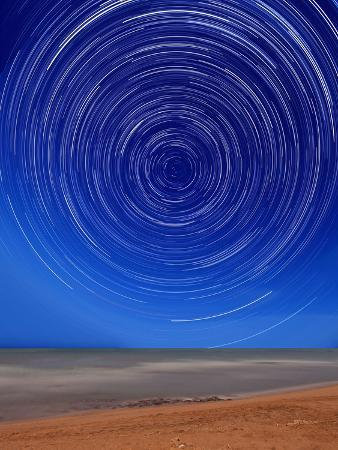 Star Trails around the South Celestial Pole at the Beach in Miramar, Argentina