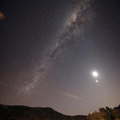 The Milky Way, the Moon and Venus over the Fields in Azul, Argentina
