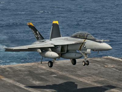 An F/A-18F Super Hornet Prepares to Land Aboard USS Eisenhower