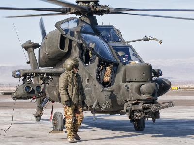 An Italian Army Agusta AW129 Mangusta Attack Helicopter