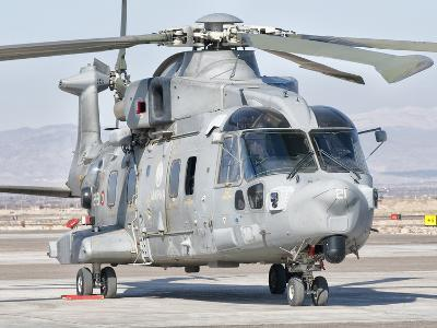 An Italian Navy EH101 Helicopter at Forward Operating Base Herat, Afghanistan