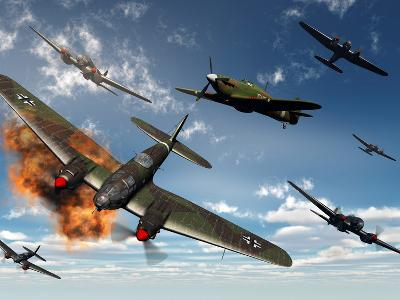 British Hawker Hurricane Aircraft Attack a German Heinkel He 11 Bomber