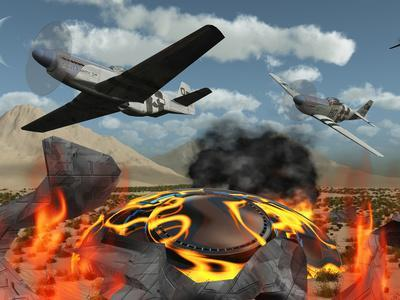 American P-51 Mustang Fighter Planes Destroy a UFO