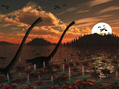 Omeisaurus Dinosaurs Roam Freely in a Freshwater Lake