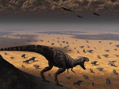 A Lone T. Rex Looks Down on a Large Herd of Triceratops