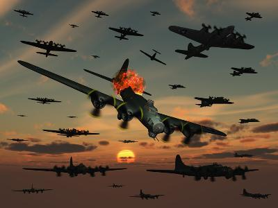 A B-17 Flying Fortress Is Set Ablaze by a German Interceptor Fighter Plane