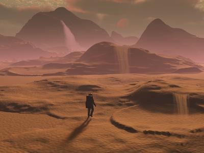 The Lone Figure of an Explorer Watching the Sandfalls of a Barren Planet
