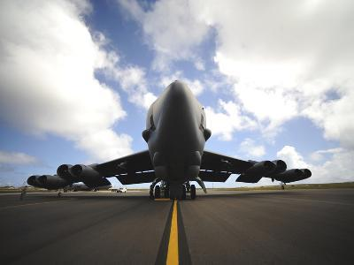 A U.S. Air Force Maintenance Crew Performs Post Flight Checks on a B-52 Stratofortress